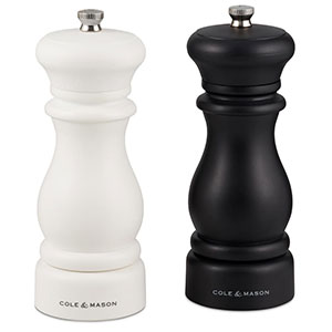 Cole & Mason Southwold Classic Salt & Pepper Mill Gift Set, Black/White